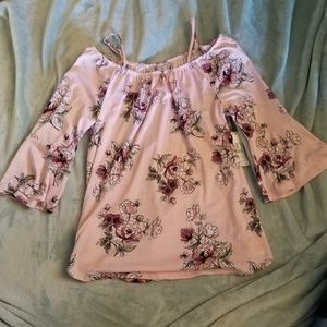 NWT off shoulder pink floral top